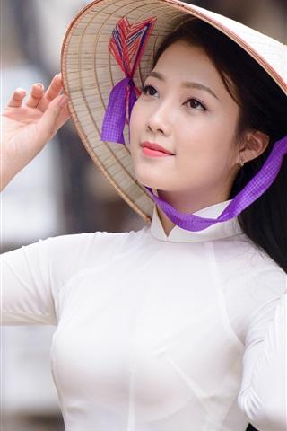 iPhone Wallpaper Asian girl, hat, white dress