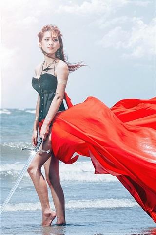 iPhone Wallpaper Asian girl, sea, sword, red dress