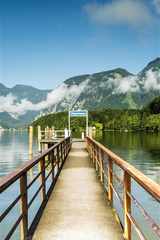 iPhone Wallpaper Austria, Hallstatt, pier, lake, mountains, clouds, rocks