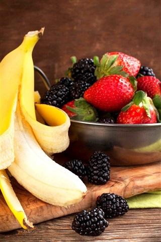 iPhone Wallpaper Banana and berries, blackberries, strawberries, fruit