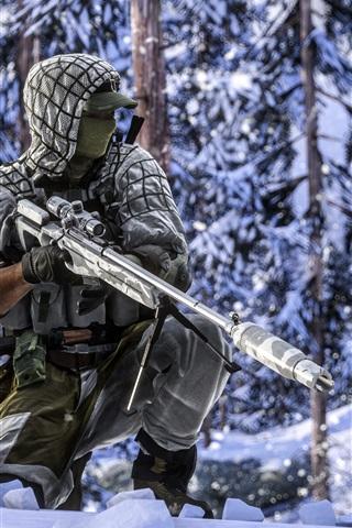 iPhone Wallpaper Battlefield 4, soldiers, sniper, winter, snow
