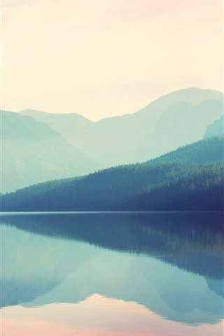 iPhone Wallpaper Beautiful nature landscape, mountains, lake, fog, water reflection