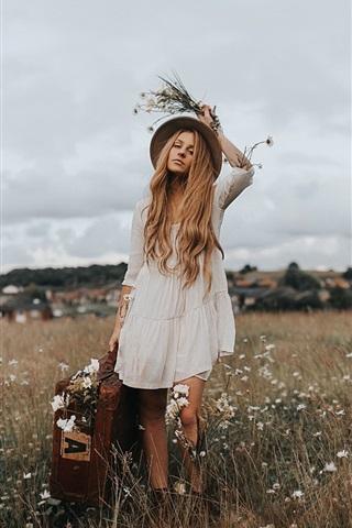iPhone Wallpaper Blonde girl, hat, suitcase, wildflowers