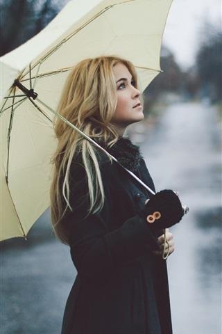 iPhone Wallpaper Blonde girl, rain, umbrella, street