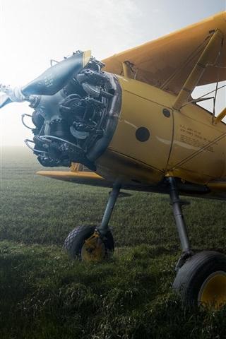 iPhone Wallpaper Boeing PT-27 Kaydet, aircraft, field, fog