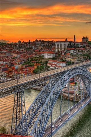 iPhone Wallpaper Bridge Louis, Portugal, river, dusk, city, clouds, sunset