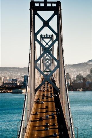 iPhone Wallpaper Bridge, cars, river, city, San Francisco, USA