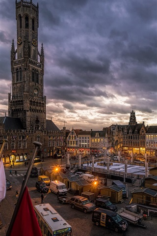 iPhone Wallpaper Bruges, Belgium, city, market, houses, dusk, lights, clouds