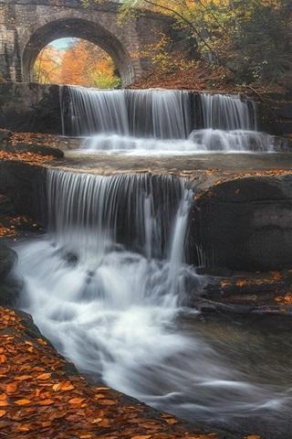 iPhone Wallpaper Bulgaria, bridge, waterfall, leaves, trees, autumn