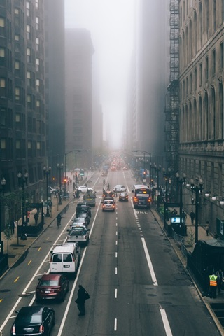 iPhone Wallpaper Chicago, Illinois, skyscrapers, fog, city, morning, road, cars, USA