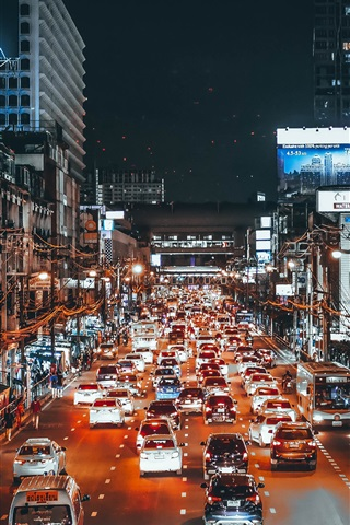 iPhone Wallpaper City, traffic, cars, lights, night, street, art style
