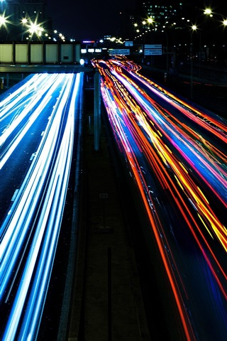 iPhone Wallpaper City traffic, colorful lights, night