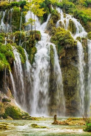 iPhone Wallpaper Croatia, Plitvice National Park, waterfalls, trees, autumn