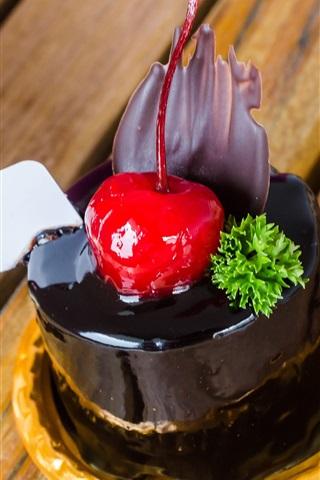 iPhone Wallpaper Dessert, chocolate cake, cherry, sweetness food
