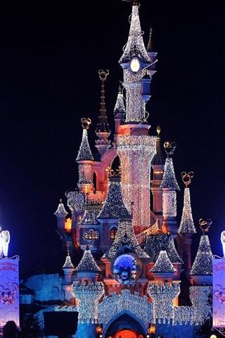 壁紙 ディズニーランドの美しい夜景 城 ライト 19x10 Hd 無料のデスクトップの背景 画像
