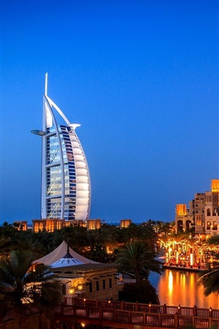 iPhone Wallpaper Dubai, city night, villa, lights