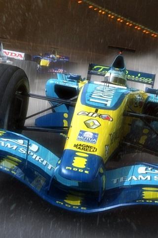 iPhone Wallpaper F1 race cars, speed, rain