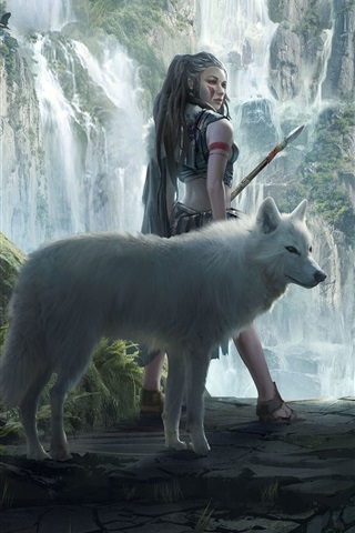 iPhone Wallpaper Fantasy girl and wolf, mountains, waterfalls