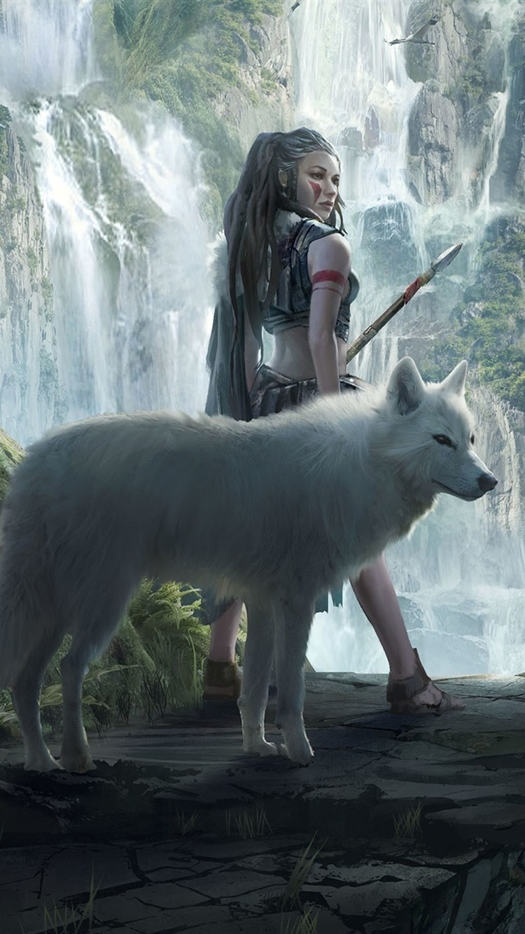 Fantasy Girl And Wolf Mountains Waterfalls 750x1334 Iphone