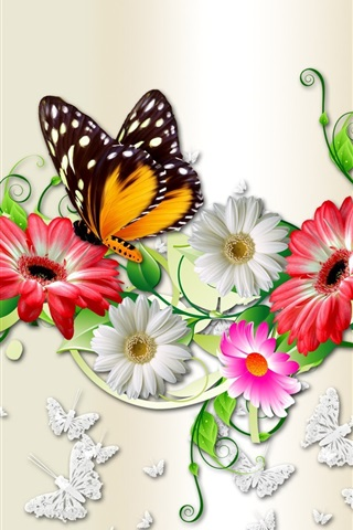 iPhone Wallpaper Flowers and butterfly, creative design