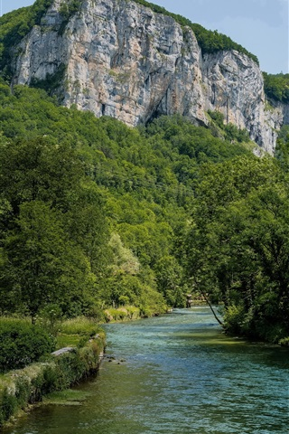 iPhone Wallpaper France, house, trees, greens, mountains, river