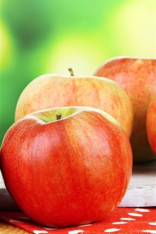 iPhone Papéis de Parede Maçãs vermelhas frescas, fotografia de frutas, fundo verde