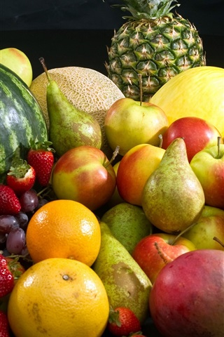 iPhone Wallpaper Fruits photography, banana, apple, strawberry, orange, melon