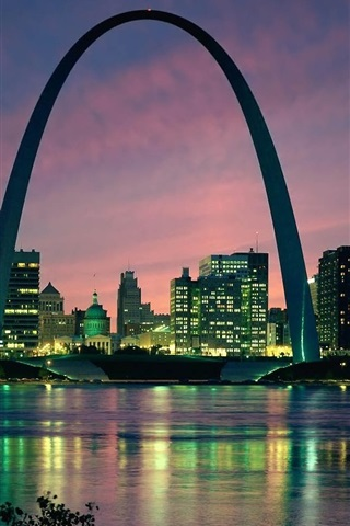 iPhone Wallpaper Gateway, arch, Saint Louis city, USA, buildings, river, dusk