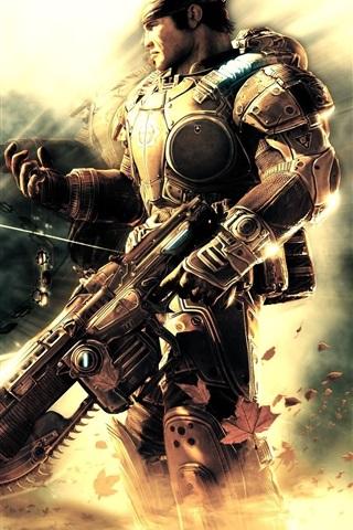 iPhone Papéis de Parede Gears of War, soldado, arma