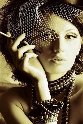 iPhone Wallpaper Girl, hat, cigarette, retro