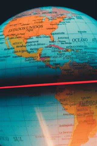 iPhone Wallpaper Globe map, ball, backlight