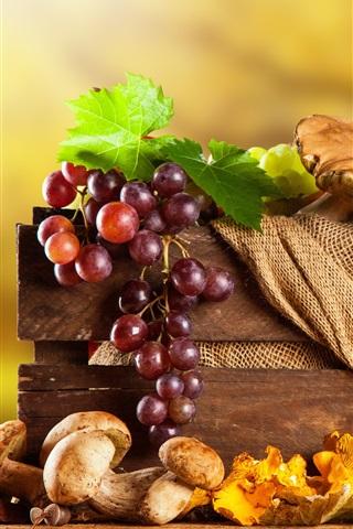 iPhone Wallpaper Grapes, mushrooms, pumpkin, pear, box, autumn