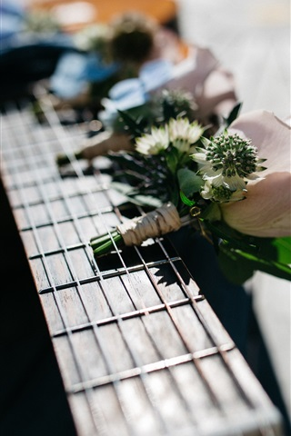 iPhone Wallpaper Guitar and flowers, music theme