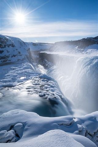 iPhone Wallpaper Gullfoss falls, waterfall, thick snow, sunshine, winter, Iceland