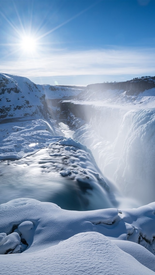 Wallpaper gullfoss falls waterfall thick snow sunshine - Iceland iphone wallpaper ...