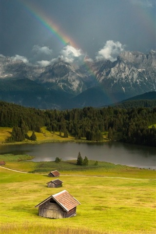 iPhone Wallpaper Huts, grass, mountains, lake, trees, storm, rainbow