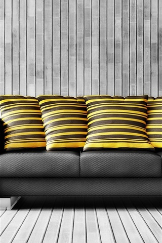 iPhone Wallpaper Interior, black sofa