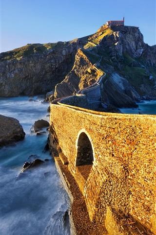 iPhone Wallpaper Island, bridge, sea, mountain, Spain