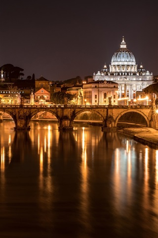 iPhone Wallpaper Italy, Rome, bridge, cathedral, river, lights