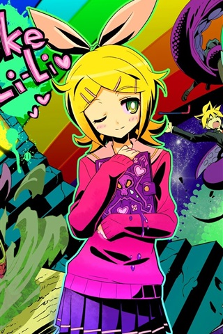 iPhone Wallpaper Kagamine Rin, anime girl