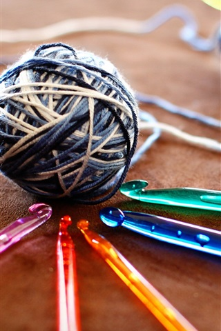iPhone Wallpaper Knitting, threads, hooks