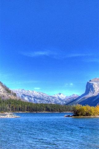 iPhone Wallpaper Lake, mountains, trees, island, blue sky