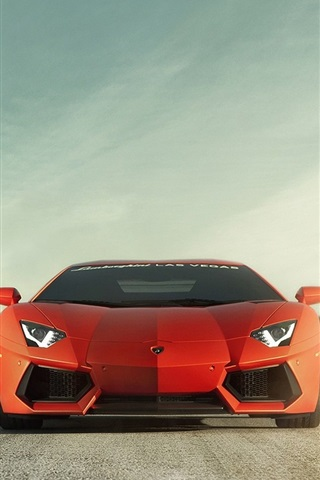 iPhone Wallpaper Lamborghini Aventador LP700-4 orange car front view, road