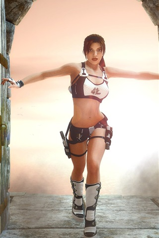 iPhone Wallpaper Lara Croft open door, Tomb Raider