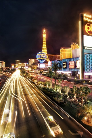 iPhone Wallpaper Las Vegas city night, buildings, road, lights, illumination