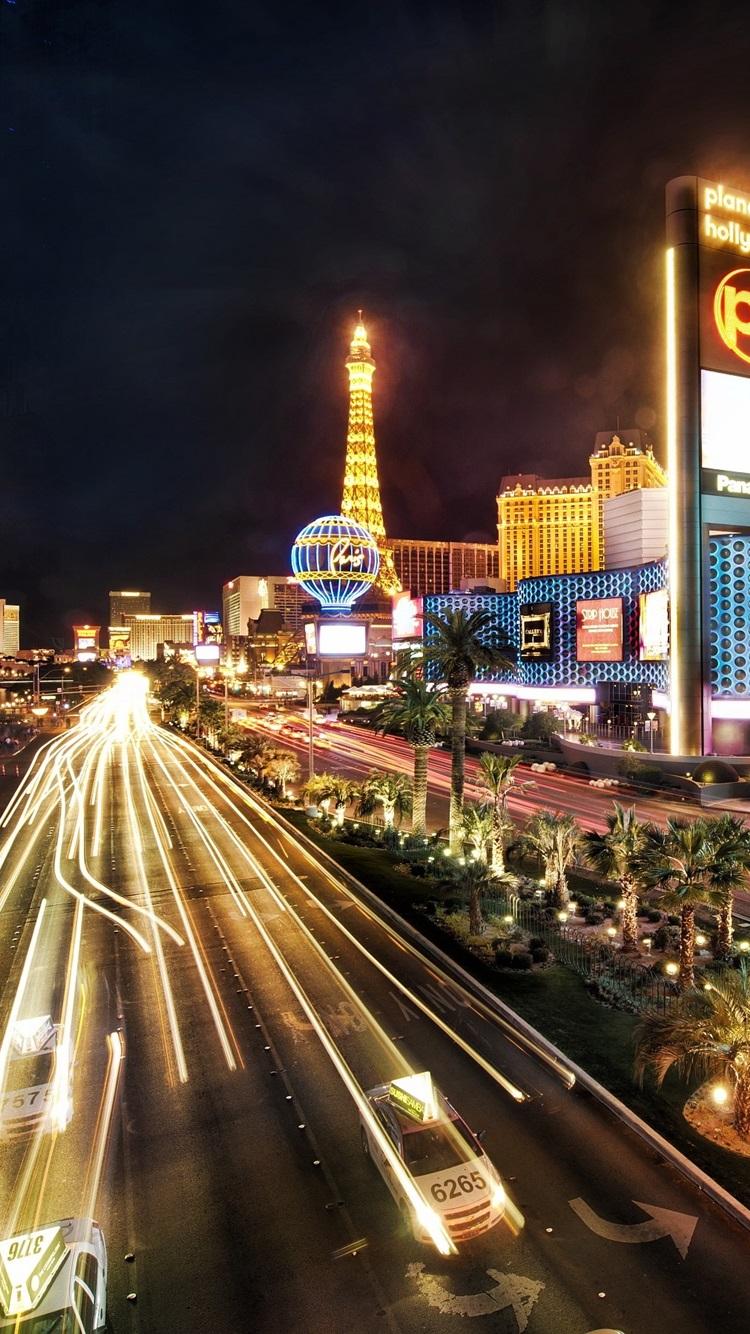 Wallpaper Las Vegas City Night Buildings Road Lights