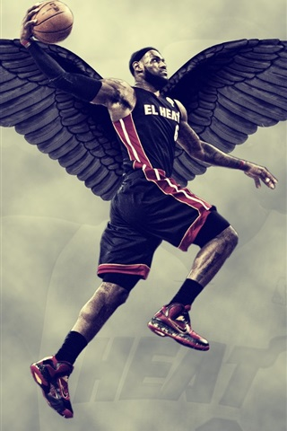 iPhone Wallpaper Lebron James, basketball, black wings, creative design
