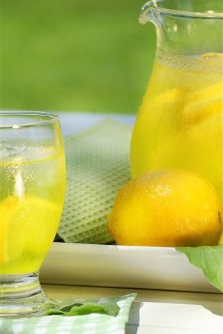 iPhone Wallpaper Lemon drinks, bottle, glass cup