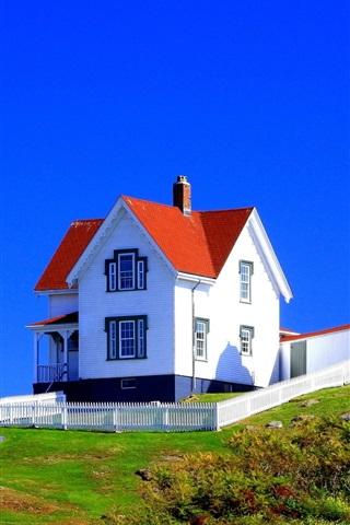 iPhone Wallpaper Lighthouse, house, flag, grass, blue sky, USA