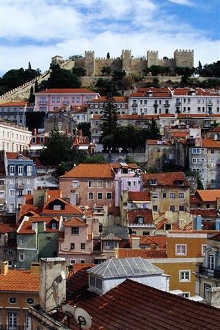 iPhone Wallpaper Lisbon, Estremadura, Portugal, city, houses